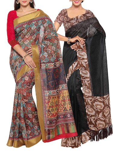 multi colored tussar silk combo saree with blouse - 14553813 - Standard Image - 1