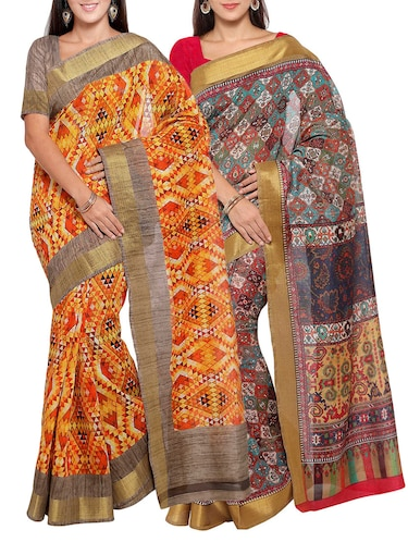 multi colored tussar silk combo saree with blouse - 14553829 - Standard Image - 1
