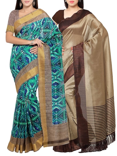 multi colored tussar silk combo saree with blouse - 14553842 - Standard Image - 1
