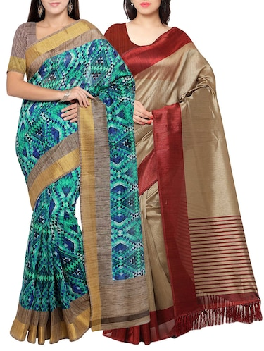 multi colored tussar silk combo saree with blouse - 14553843 - Standard Image - 1