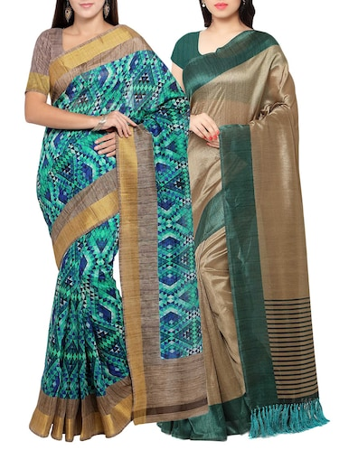 multi colored tussar silk combo saree with blouse - 14553845 - Standard Image - 1