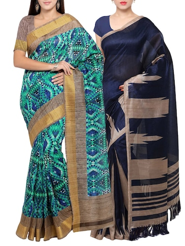 multi colored tussar silk combo saree with blouse - 14553846 - Standard Image - 1