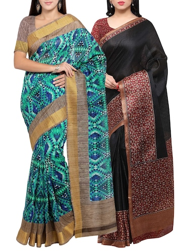 multi colored tussar silk combo saree with blouse - 14553862 - Standard Image - 1