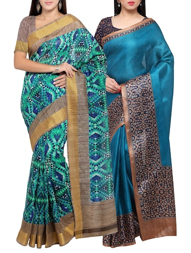 multi colored tussar silk combo saree with blouse - 14553863 - Standard Image - 1