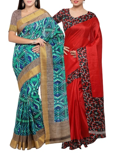 multi colored tussar silk combo saree with blouse - 14553868 - Standard Image - 1