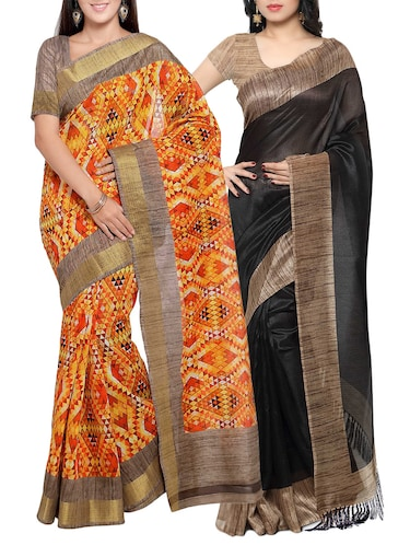multi colored tussar silk combo saree with blouse - 14553873 - Standard Image - 1