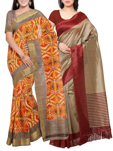 multi colored tussar silk combo saree with blouse - 14553885 - Standard Image - 1