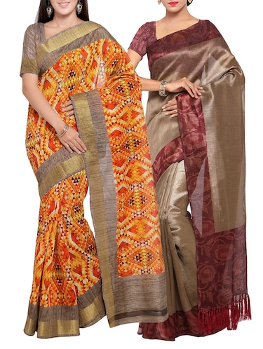 multi colored tussar silk combo saree with blouse - 14553892 - Standard Image - 1