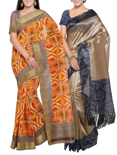 multi colored tussar silk combo saree with blouse - 14553895 - Standard Image - 1