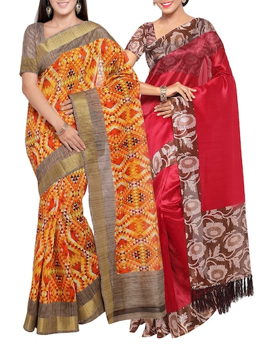 multi colored tussar silk combo saree with blouse - 14553896 - Standard Image - 1