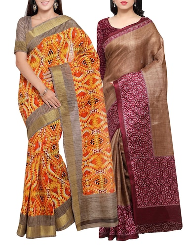 multi colored tussar silk combo saree with blouse - 14553902 - Standard Image - 1