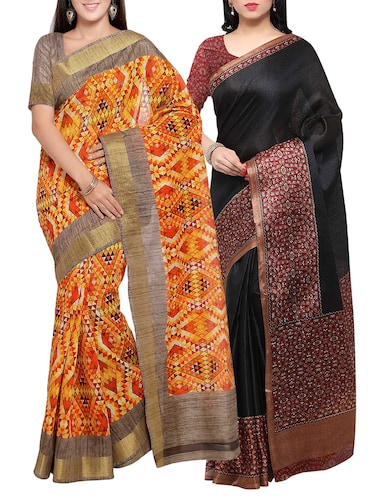 multi colored tussar silk combo saree with blouse - 14553904 - Standard Image - 1