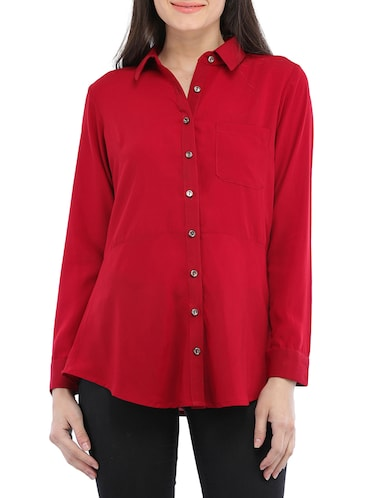 solid red viscose shirt - 14554244 - Standard Image - 1
