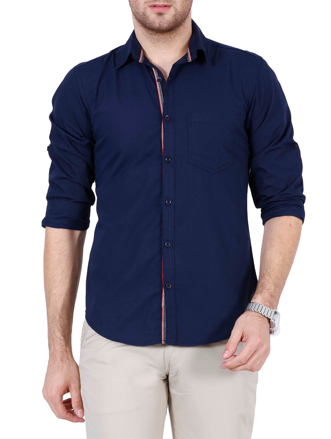 how to wear navy blue shirt