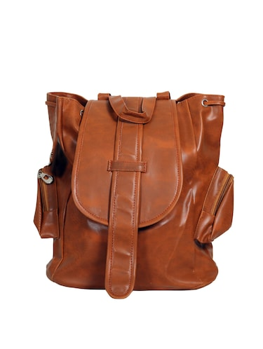 brown leatherette  fashion backpack - 14559934 - Standard Image - 1