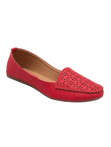 red faux leather slip on loafers - 14565098 - Standard Image - 1