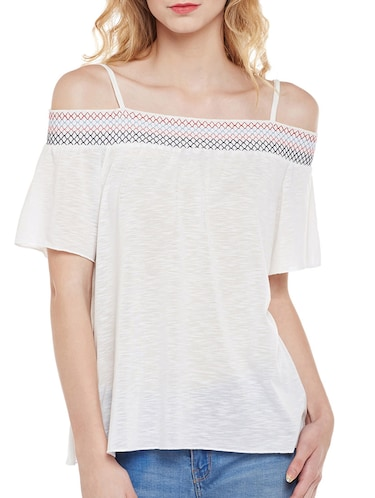 77b8155101aa0 Buy White Cold Shoulder Top by Tom Tailor - Online shopping for Tops ...