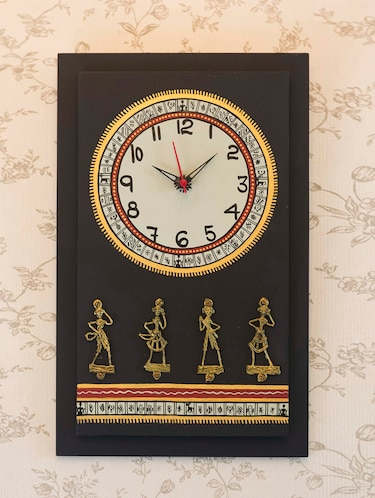 e7bad726ded Antique Handpainted Warli and Dhokra Wooden Work Black Wall Clock with Dhokra  Craft 16 Inch Tall