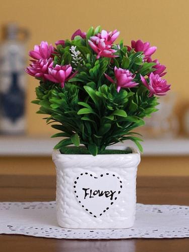 Buy Fourwalls Plastic Artificial Lotus Flower In A Ceramic Vase 1