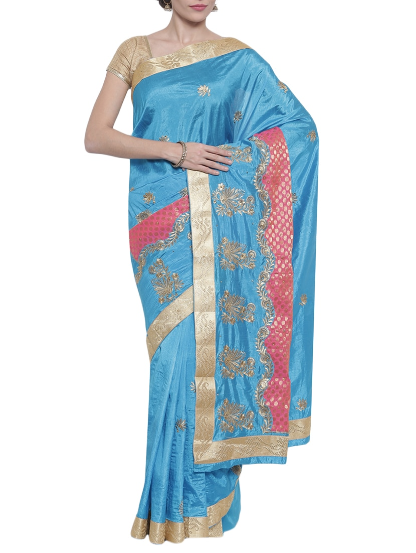 Buy Classicate From The House Of The Chennai Silk Blue Saree With ...