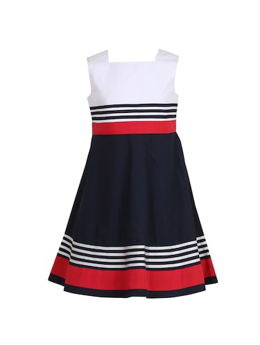 navy blue cotton frock - 14606635 - Standard Image - 1