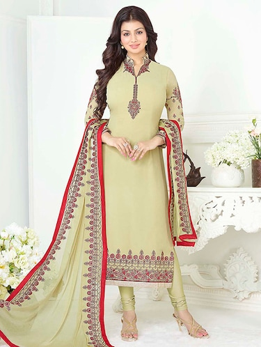 7a703e655c Buy Cream Georgette Embroidered Dress Material by Apple - Online ...