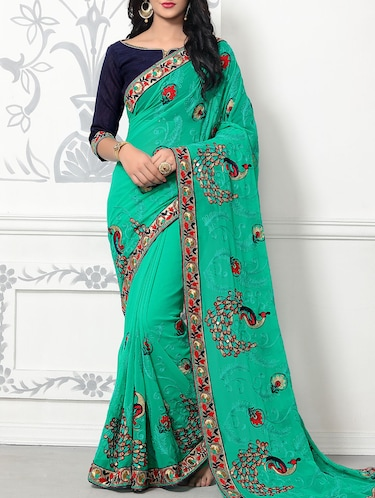 green georgette embroidered saree with blouse - 14610065 - Standard Image - 1