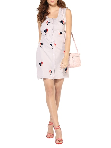 edb658050c661 Buy Button-up Embroidered Tie Back Dress for Women from Heather Hues ...