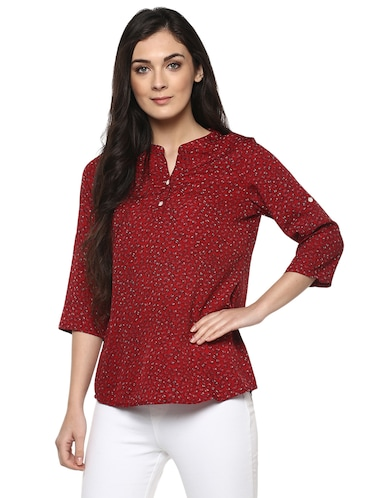 floral band collar top - 14618612 - Standard Image - 1