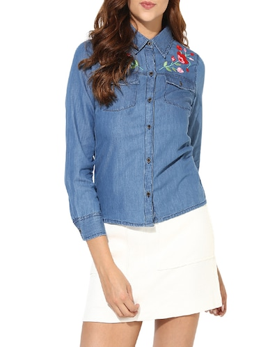 blue denim shirt - 14620197 - Standard Image - 1
