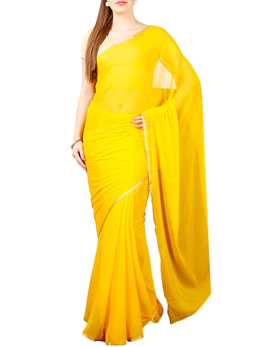 3072e953897e yellow chiffon plain saree with blouse - 14631272 - Standard Image - 1 ...