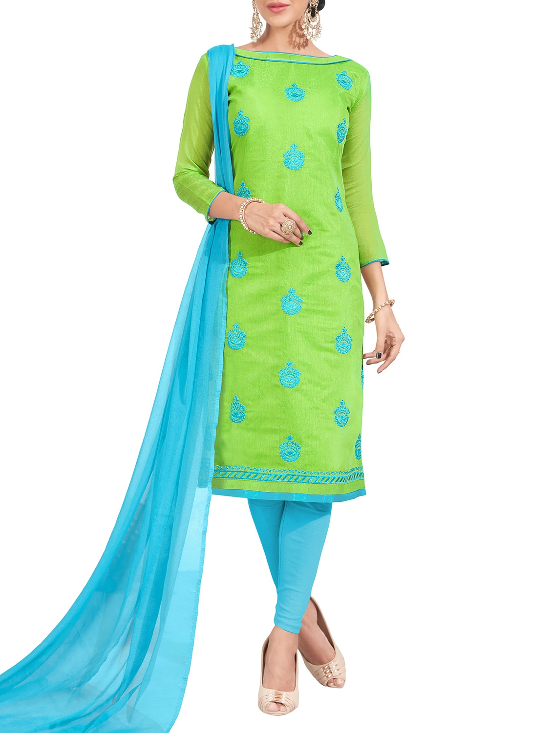 0f0122f158 ... green chanderi cotton churidaar suit dress material - 14631663 - Zoom  Image - 1