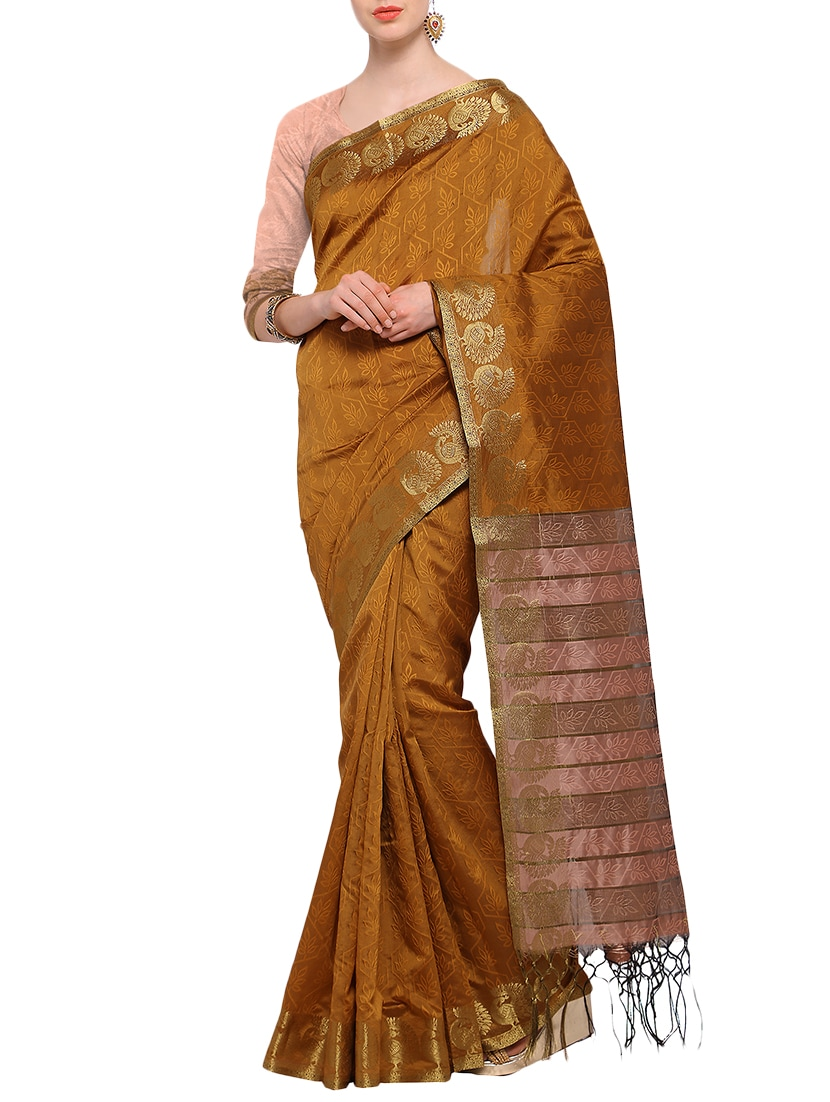 fbb028d24986e3 Buy Orange Woven Silk Saree With Blouse by Ligalz - Online shopping ...