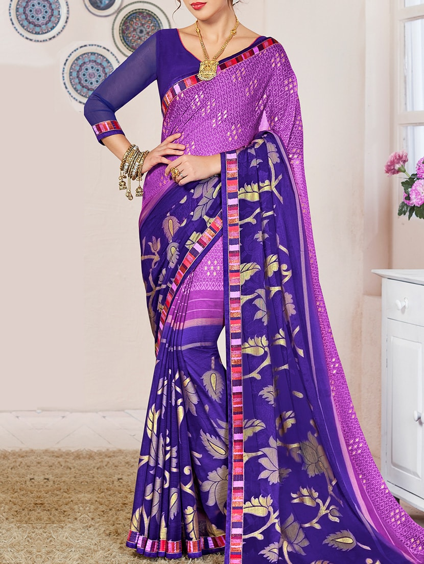 3e9db19006 Magenta Saree With Blue Blouse   Toffee Art