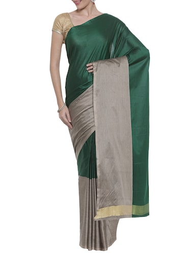 The Chennai Silks green woven saree with blouse - 14644192 - Standard Image - 1