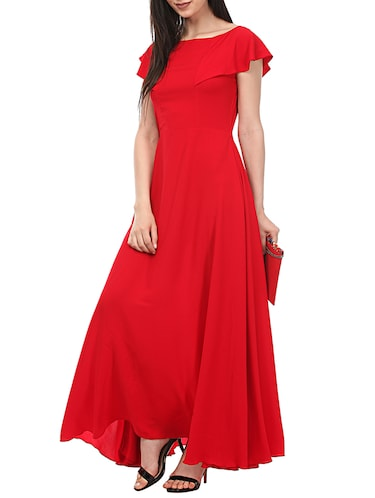 Buy Ruffled Boat Neck Gown Dress by Lady