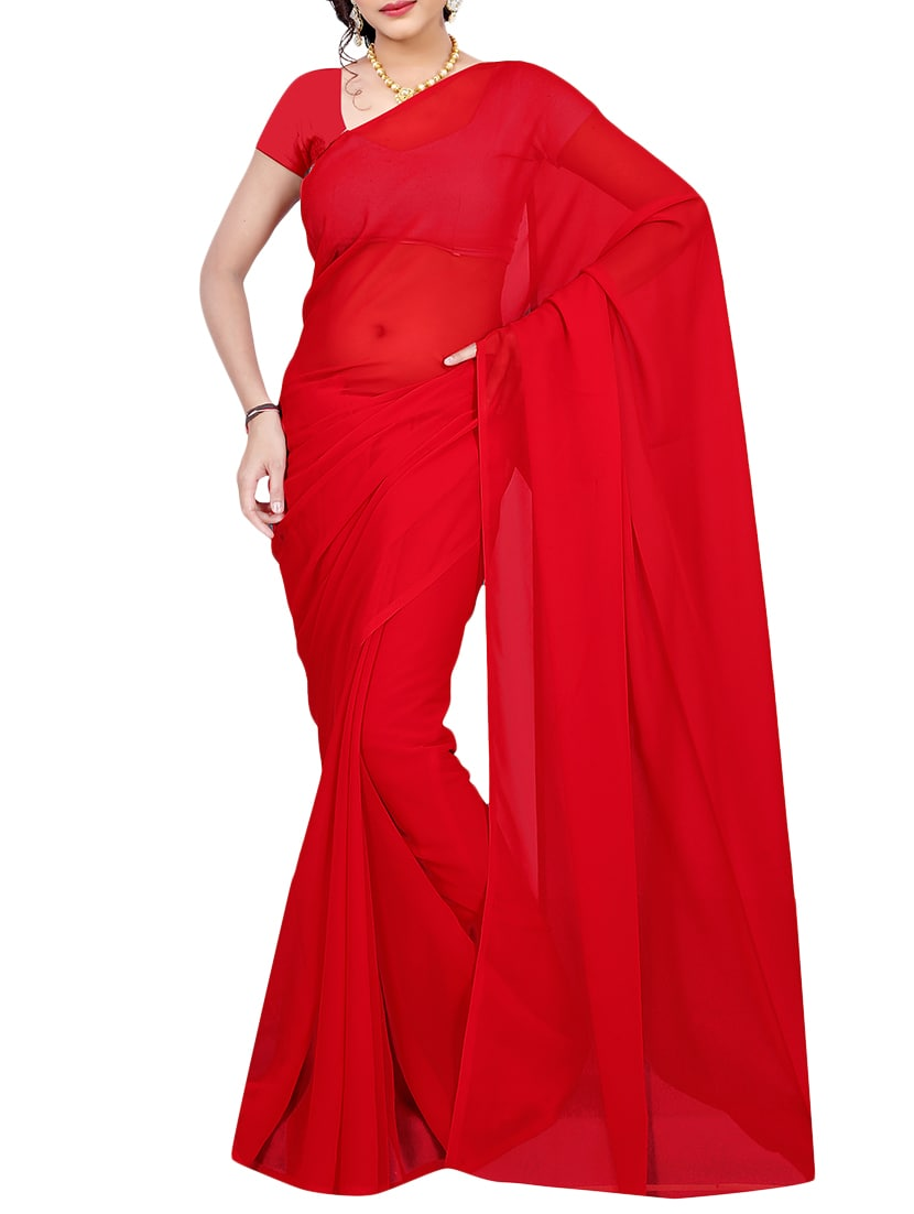 eab36fb00694a0 ... red georgette plain saree with blouse - 14681416 - Zoom Image - 1