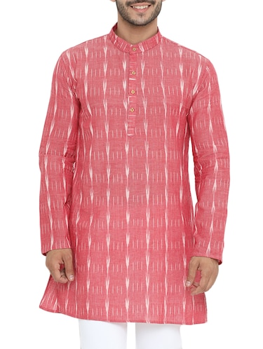 pink cotton long kurta - 14738826 - Standard Image - 1