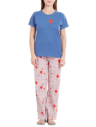 blue nightwear pyjama set - 14776628 - Standard Image - 1