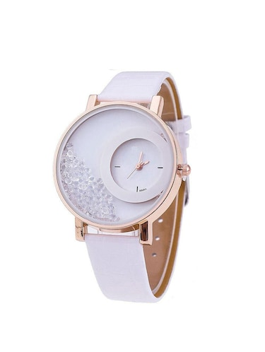 Women White leather Strap Analog Watch - 14789375 - Standard Image - 1