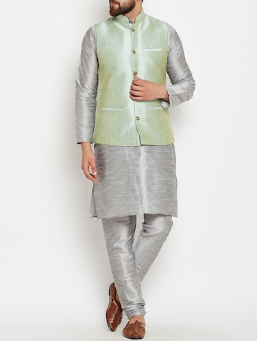 grey and light green dupion ethnic wear set - 14794187 - Standard Image - 1
