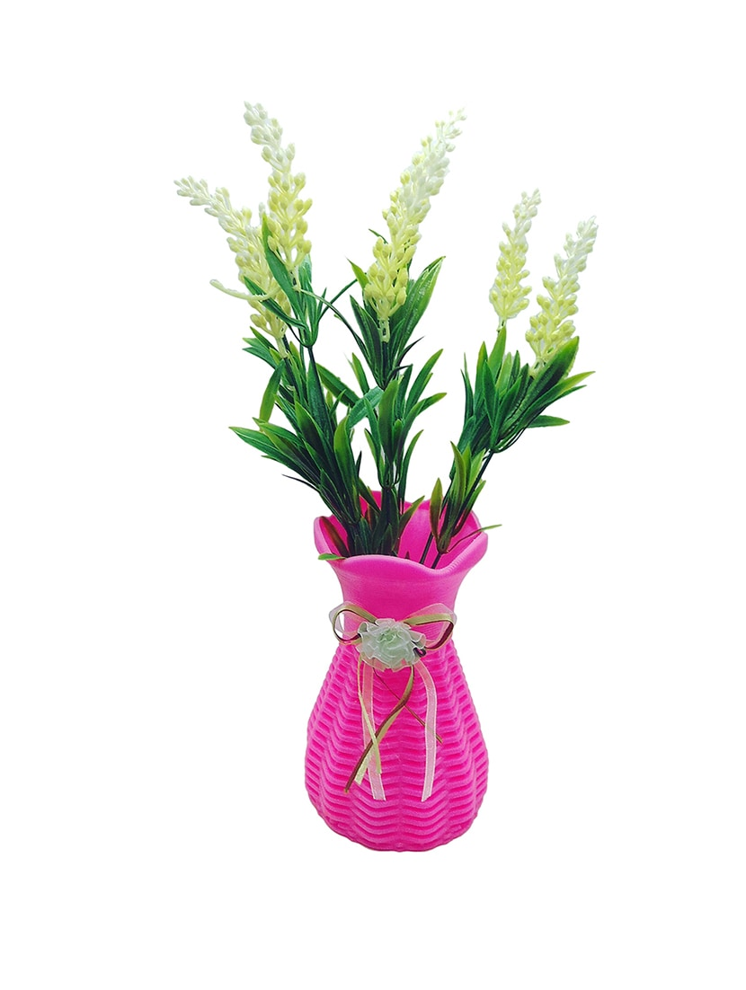 Buy Artificial Plant With Green Leaves And Long White Flowers With