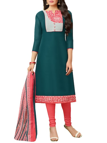 Embroidered unstitched churidaar suit - 14809645 - Standard Image - 1