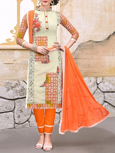 Embroidered unstitched straight pant suit - 14813654 - Standard Image - 1