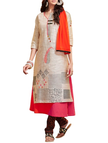 Printed chanderi layered kurta with churidaar suit set - 14816742 - Standard Image - 1