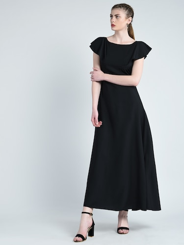 boat neck flared gown - 14848876 - Standard Image - 1