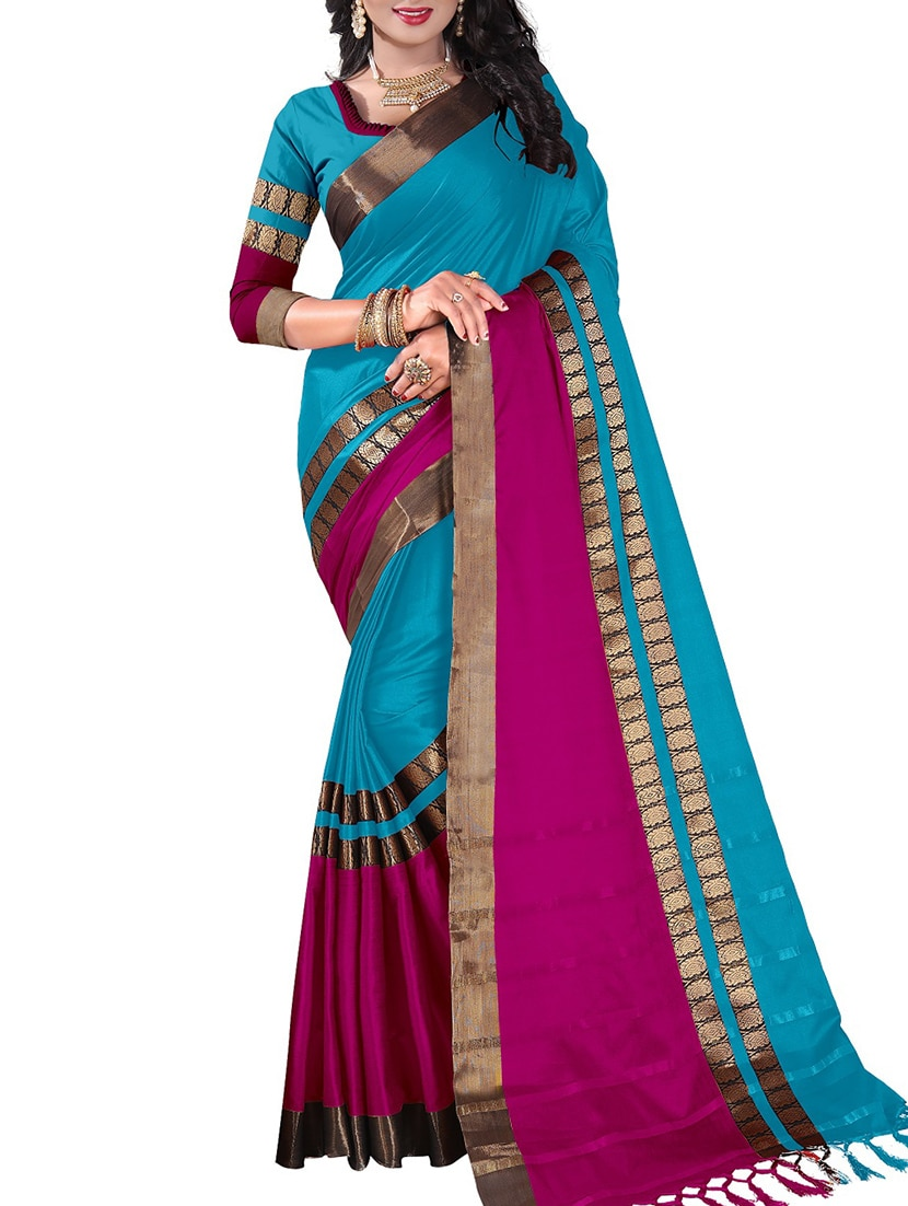 82eae1f672 ... sky blue cotton silk woven saree with blouse - 14849751 - Zoom Image - 1
