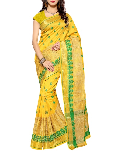 b5d3a6d773b52 Buy Yellow Cotton Silk Paithani Saree With Blouse for Women from ...