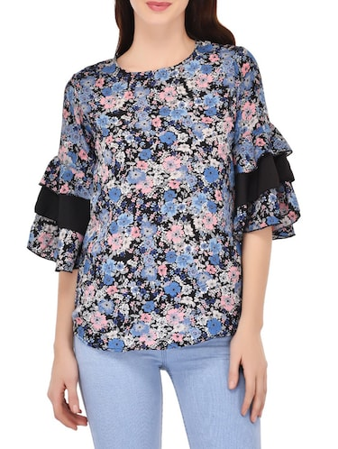 blue poly crepe printed top - 14864277 - Standard Image - 1