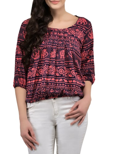 red printed blouson top - 14864311 - Standard Image - 1